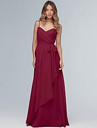 cheap -A-Line Spaghetti Strap Floor Length Chiffon Bridesmaid Dress with Sash / Ribbon / Ruffles / Open Back