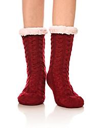 cheap -womens girl soft knee high warm winter fuzzy fleece lined slipper socks (wine red)