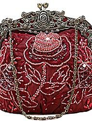 cheap -women's vintage beaded sequin flower evening handbags (red wine)