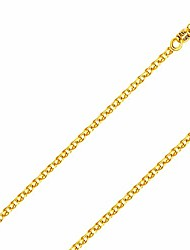 cheap -14k solid gold italian yellow gold 1.5mm flat open wheat link chain necklace- made in italy-14 karat with lobster claw clasp include gift box with order 18.5 inches