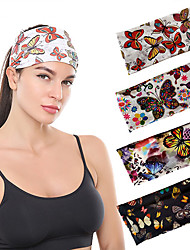 cheap -4packs  Printed Butterfly Wide-brimmed Headbands Personalized Printing Color Elastic Sports Yoga Headband