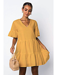 cheap -Women's Swing Dress Knee Length Dress - Short Sleeve Solid Color Spring Summer Casual 2020 White Black Yellow S M L XL XXL