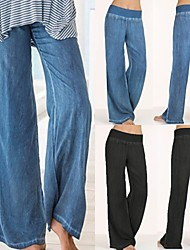 cheap -Women's High Waist Yoga Pants Elastic Waistband Palazzo Wide Leg Pants / Trousers Jeans Tummy Control Moisture Wicking Breathable Black Blue Spandex Yoga Dance Running Plus Size Sports Activewear
