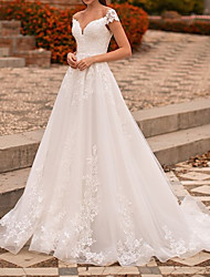 cheap -A-Line Wedding Dresses V Neck Sweep / Brush Train Lace Tulle Sleeveless Country Formal Luxurious with Appliques 2021