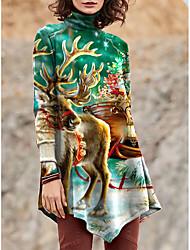 cheap -Women's T Shirt Dress Tee Dress Short Mini Dress Red Green Long Sleeve Print Color Block Animal Patchwork Print Fall Winter Turtleneck Casual Christmas 2021 S M L XL XXL 3XL 4XL 5XL