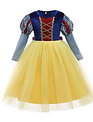 cheap -Princess Flapper Dress Dress Party Costume Girls' Movie Cosplay Cosplay Costume Party Yellow Dress Christmas Children's Day New Year Polyester Organza