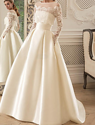 cheap -A-Line Wedding Dresses Jewel Neck Floor Length Lace Satin Long Sleeve Formal Luxurious with Pleats Beading Appliques 2021