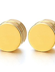 cheap -men women 10mm gold color magnetic circle stud earrings, non-piercing clip on cheater fake ear gauges