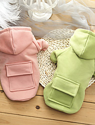 cheap -Dog Cat Hoodie Solid Colored Adorable Candy Colors Casual / Daily Dog Clothes Puppy Clothes Dog Outfits Waterproof Pink Green Costume for Girl and Boy Dog Plush S M L XL XXL