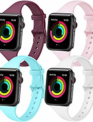 cheap -pack 4 compatible with apple watch strap 38mm 42mm 40mm 44mm, soft silicone narrow thin sport replacement strap for iwatch series 5 4 3 2 1 (blue/wine red/pink/white, 42/44mm s/m)