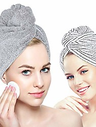 cheap -organic bamboo hair towel hair drying towel turban wrap with button, anti frizz absorbent soft bath cap for curly, long thick hair 1 pack