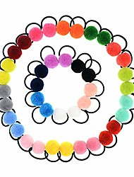 cheap -40 pcs (20 pairs) pom balls elastic hair ties for girls' ponyatil holder accessories (assorted color)