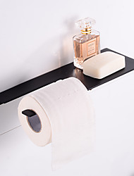 cheap -Stainless Steel Toilet Paper Holder New Design Tray Paper Roll Holder Bathroom Shelf Wall Mounted Matte Black 1pc