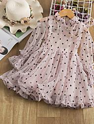 cheap -Kids Little Girls' Dress Dusty Rose Polka Dot Solid Colored Lace Dusty Rose Beige Knee-length Long Sleeve Cute Dresses