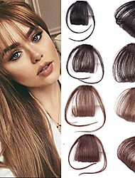 cheap -thin neat air bangs 100% real human hair clip in fringe front hairpiece extensions (dark brown)