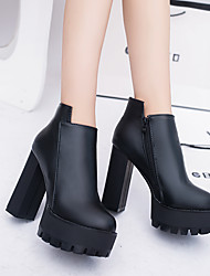 cheap -Women's Boots Platform Chunky Heel Round Toe Booties Ankle Boots Minimalism Daily Walking Shoes PU Sequin Solid Colored Winter Black