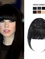cheap -clip in fringe hair piece human hair extensions [thick bangs] straight (#1 jet black)