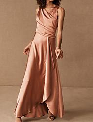 cheap -A-Line V Neck Asymmetrical / Floor Length Charmeuse Bridesmaid Dress with Ruching