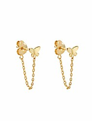 cheap -tiny butterfly stud earrings with chain sterling silver gold earrings for women (gold-tone)