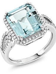 cheap -sterling silver simulated aquamarine antique women's ring (5.00 cttw emerald cut)