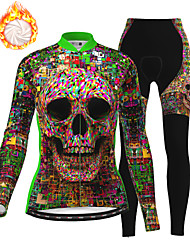 cheap -21Grams Women's Long Sleeve Cycling Jersey with Tights Winter Fleece Green Skull Bike Fleece Lining Breathable Warm Quick Dry Sports Graphic Mountain Bike MTB Road Bike Cycling Clothing Apparel
