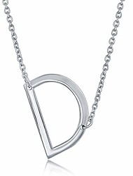 cheap -sterling silver sideways initial necklace d pendant letter necklace for women