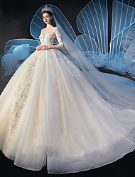 cheap -Princess Ball Gown Wedding Dresses V Neck Watteau Train Lace Tulle 3/4 Length Sleeve Formal Romantic Luxurious with Appliques 2020