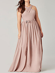cheap -Sheath / Column Halter Neck Floor Length Polyester Bridesmaid Dress with Sash / Ribbon / Pleats