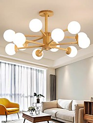 cheap -6/8/10/12 Heads Chandelier Wood Modern Globe Design Flush Mount Lights Living Room Bedroom 110-120V 220-240V