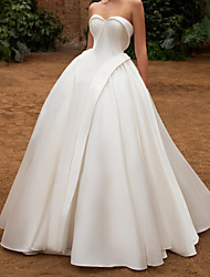 cheap -Ball Gown Wedding Dresses Strapless Floor Length Satin Sleeveless Formal Simple with Pleats 2020