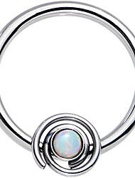 cheap -stainless steel white synthetic opal swirl set circular ring 16 gauge 3/8""