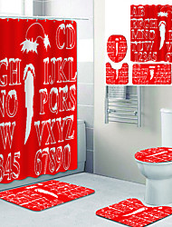 cheap -White Snow Letters On Red Background Printed Bathtub Curtain Liner Covered With Waterproof Fabric Shower Curtain For Bathroom Home Decoration With Hook Floor Mat And Four-piece Toilet Mat