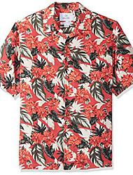 cheap -men's relaxed-fit 100% silk tropical hawaiian shirt, holiday poinsettia, small