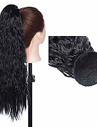 cheap -18 inch long curly ponytail extension corn wavy drawstring ponytail hair extensions hair pieces for women dark black
