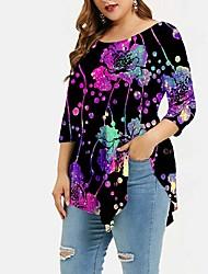 cheap -Women's Plus Size Tops T shirt Print Color Gradient Large Size Round Neck Long Sleeve Big Size
