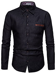 cheap -men's casual dress shirt button down jeans shirt fashion denim shirt black m