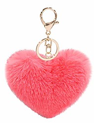 cheap -women's heart puffball keychain faux fur pom pom keyholder bag accessory keyring backpack charms for girls(watermelon red)