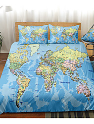 cheap -World Map Print 3-Piece Duvet Cover Set Hotel Bedding Sets Comforter Cover with Soft Lightweight Microfiber, Include 1 Duvet Cover, 2 Pillowcases for Double/Queen/King(1 Pillowcase for Twin/Single)