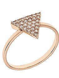 cheap -18k rose gold plated cz simulated diamond pave stackable triangle ring