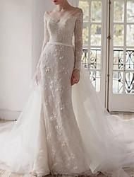 cheap -A-Line Wedding Dresses V Neck Chapel Train Lace Long Sleeve Romantic with Appliques 2021