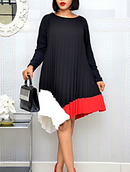 cheap -Plus Size Women's A-Line Dress Knee Length Dress Long Sleeve Solid Color Ruched Spring &  Fall Casual Polyester / Cotton Loose