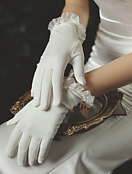 cheap -Satin Suit Length Glove Elegant / Simple Style With Faux Pearl / Ruffles