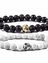 cheap -soccer bracelet soccer gifts lava stone/white howlite beaded bracelet sports jewelry for girls boy gift (1pcs lava stone beads + 1pcs white howlite beads)