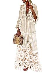cheap -Women's Swing Dress Maxi long Dress Light Pink Blue Yellow Beige 3/4 Length Sleeve Solid Color Spring & Summer V Neck Boho 2021 S M L XL XXL XXXL 4XL