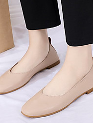 cheap -Women's Flats Flat Heel Square Toe Basic Casual Daily PU Solid Colored Summer Almond Green Beige