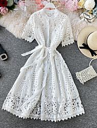 cheap -Women's Sheath Dress Knee Length Dress - Short Sleeve Solid Color Patchwork Spring Fall Elegant Casual 2020 White Black S M L XL
