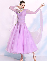 cheap -Ballroom Dance Dress Embroidery Split Joint Crystals / Rhinestones Women's Training Performance Long Sleeve Spandex Organza