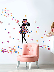 cheap -Beautiful Girl Butterfly Flower Home Background Children Room Background Decoration Can Remove The Sticker 57.5*28.5cm