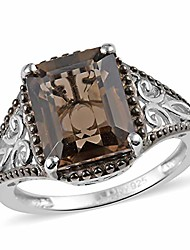 cheap -925 sterling silver platinum plated octagon smoky quartz solitaire ring fashion women jewelry gift size 5 ct 2.6