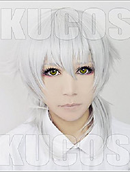 cheap -cosplay wig touken ranbu the sword dance silver white wigs corta cosplay party fashion anime human costume full wigs synthetic haar heat resistant fiber